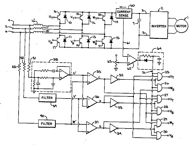 Patent 4,620,272  -- Line-regenerative motor controller with current limiter, Inventor Don Fulton